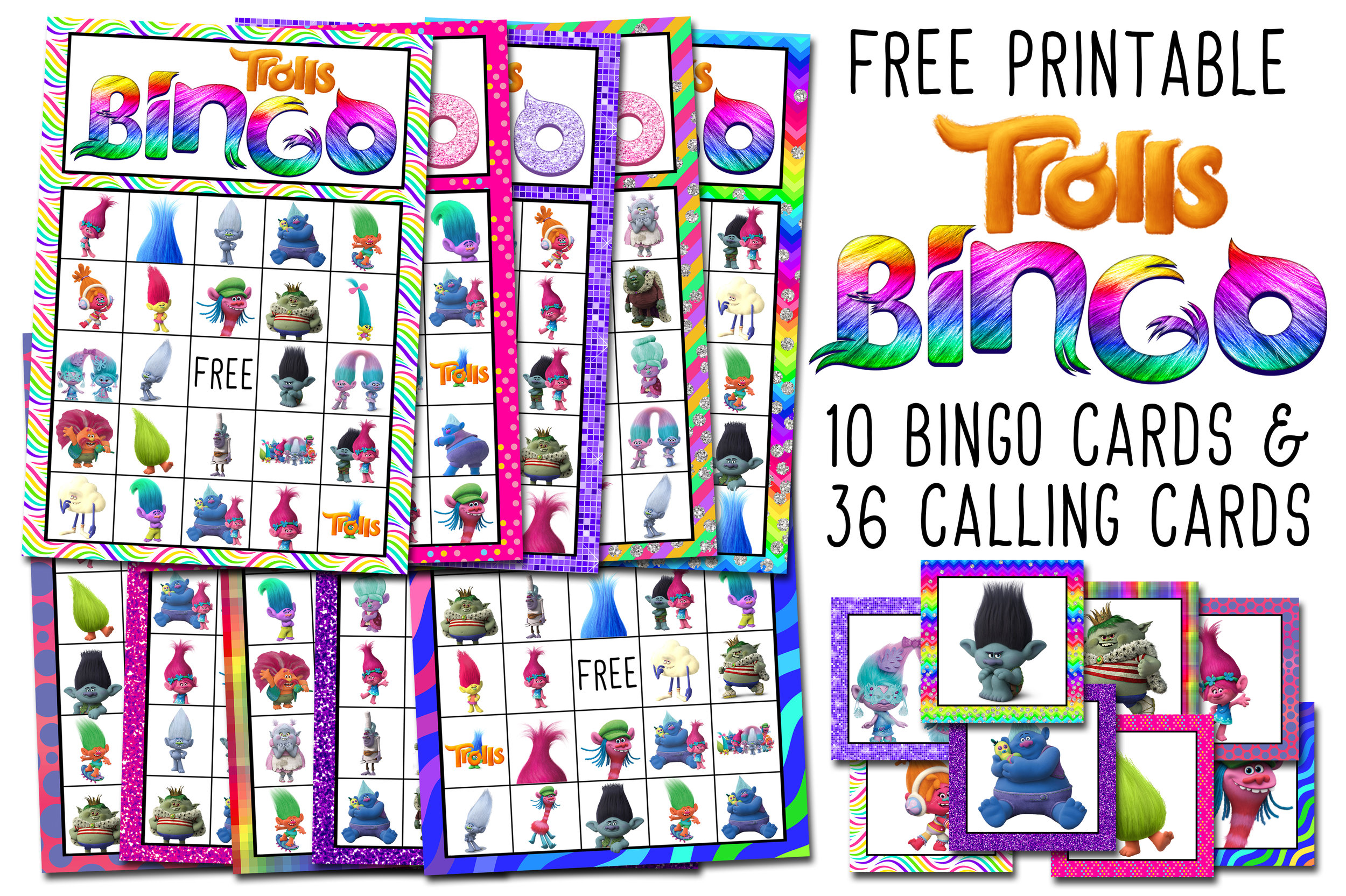 graphic about Disney Bingo Printable named Trolls Totally free Printable Bingo Playing cards - Trolls Birthday Bash