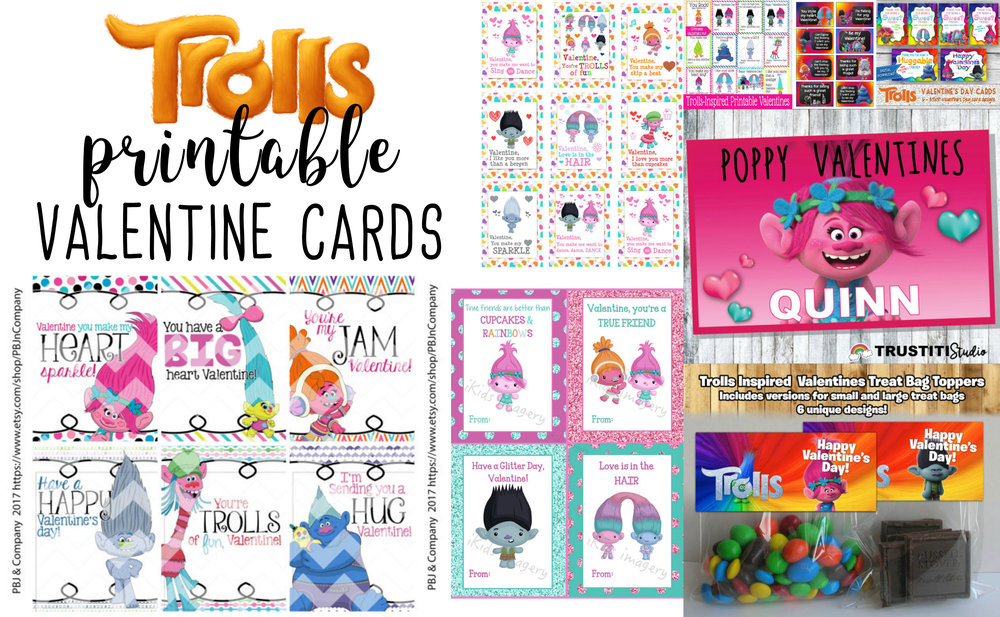 Adorably Fun Trolls Printable Valentine's Cards For Kids