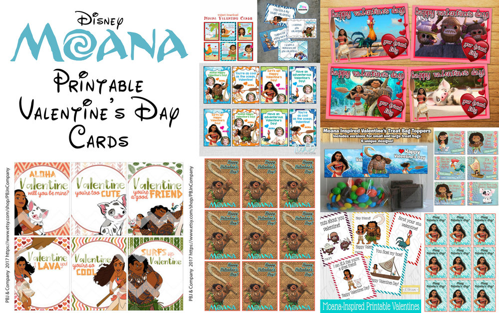 Disney Moana Printable Valentine Cards For Kids