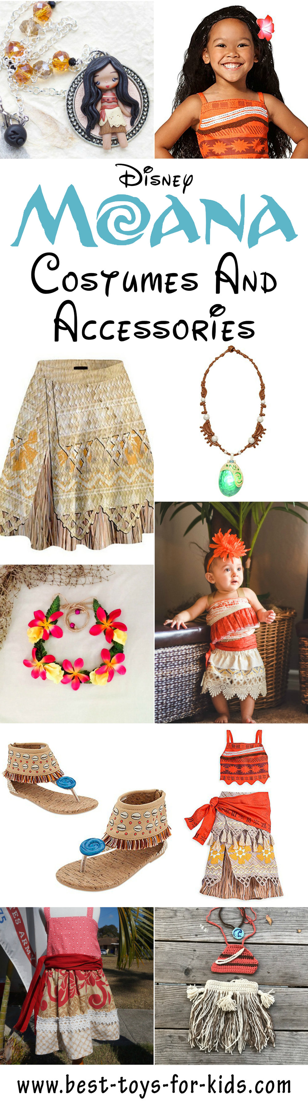 Disney Princess Moana Costumes for Kids to Play Dress Up or Parties