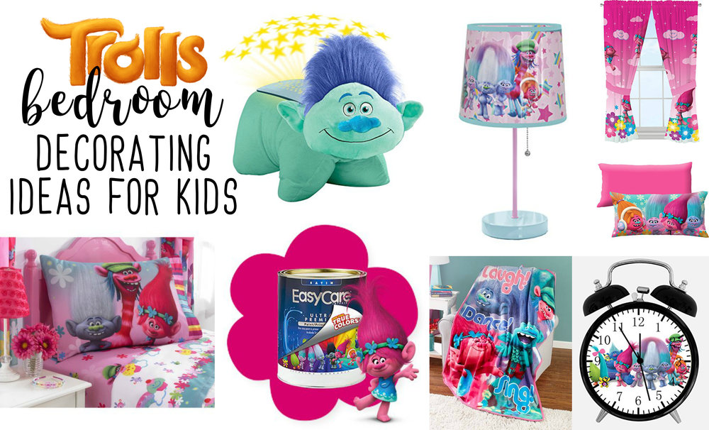 Find your happy place with these fun and bright Trolls decorating ideas for bedrooms and play rooms.