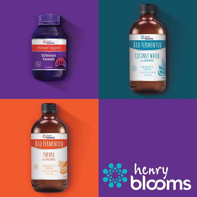 Henry Blooms brand identity and packaging roll out #henryblooms #packaging #brandidentity #brandpackaging #graphicdesign #design #bondi_barefoot #probiotics #vitamins