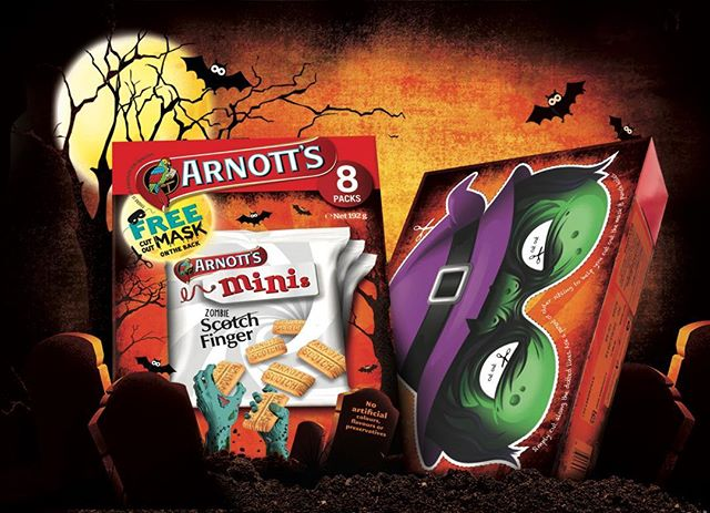 Arnotts mini scotch finger Halloween packs, great illustrstions by James briscoe / chulo creative agency #arnottsbiscuits #arnotts #scotchfinger #packagingdesign #brandedpackaging #fmcg #branding #halloween #illustration #chulo.creative #bangers_and_mash70