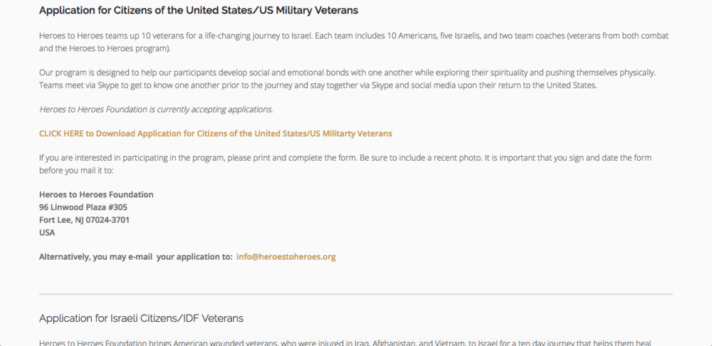 Veteran's application page
