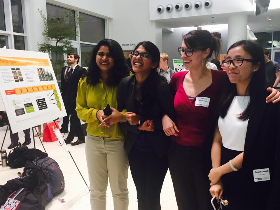 The project team- Tanisha Wagh, Me,Jasmine Hentschel and Rui Zhou beside our poster(which won the $500 best poster award).