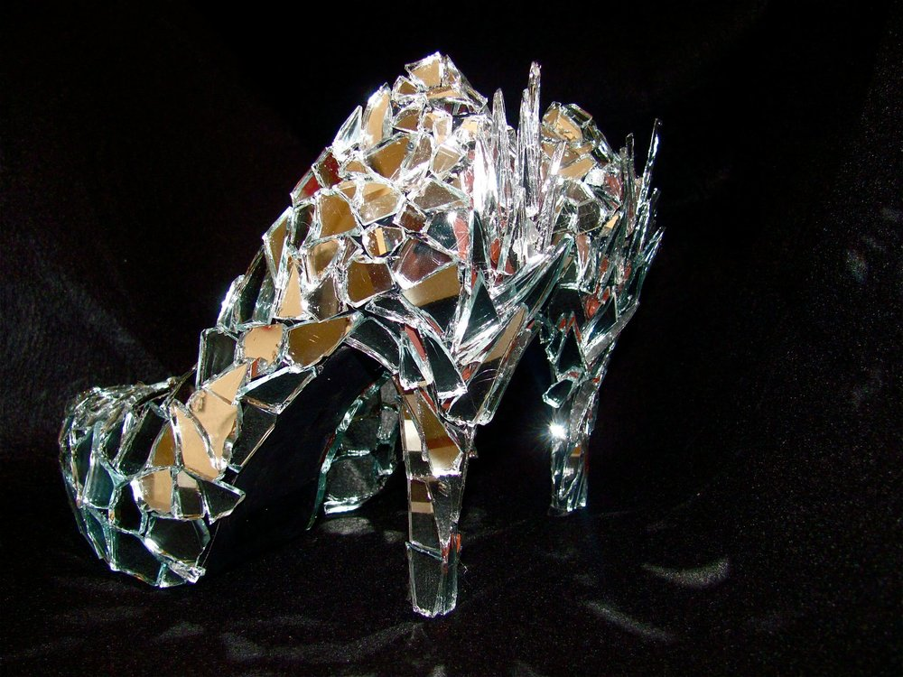 Broken mirror shoes, created by me and worn to the opening.