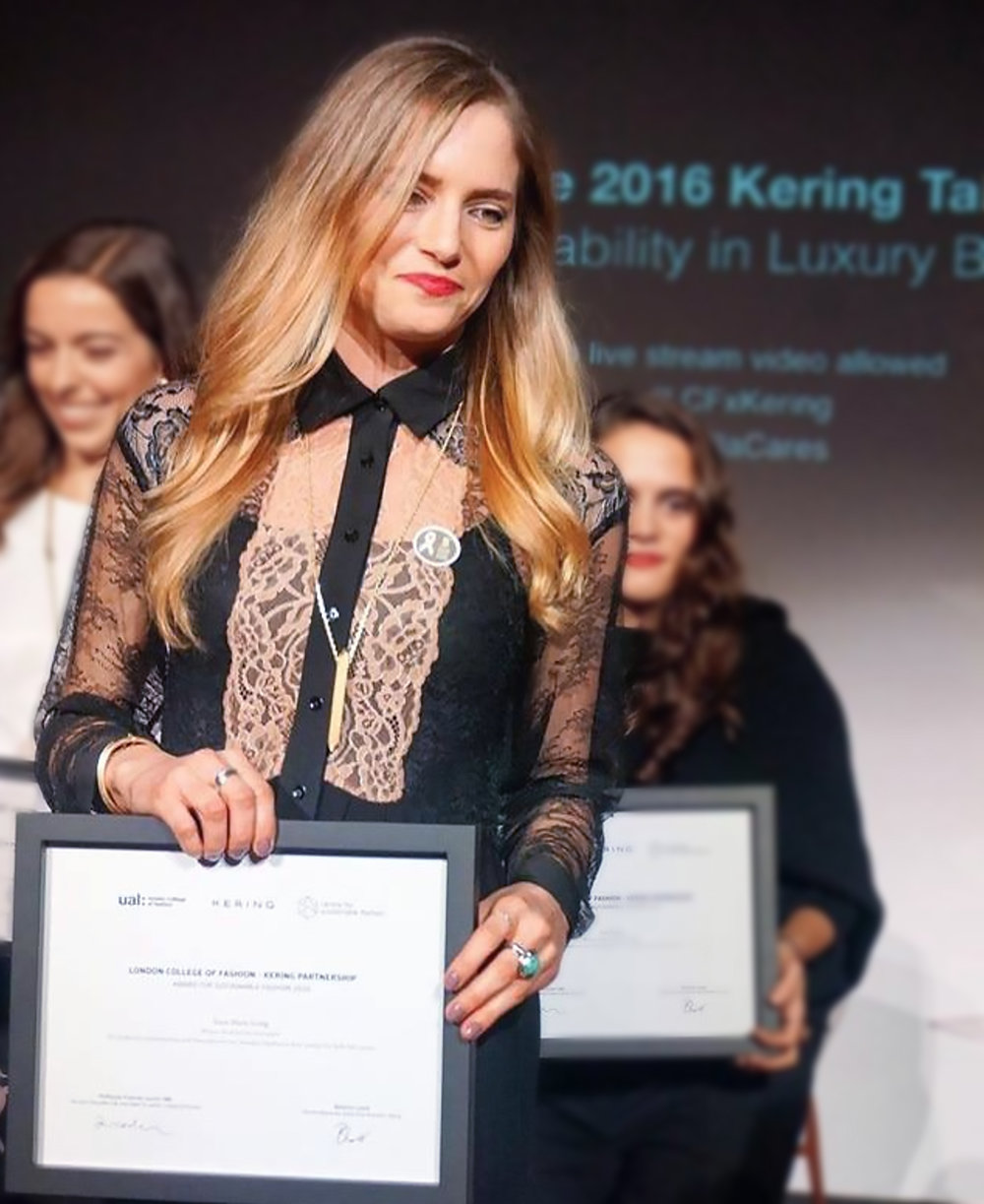 02 Awards - Winner of–2016 Kering Award for Sustainable Fashion Innovation, 2016 UAL Commercial Impact Award, 2017 Plug and Play Fashion for Good Accelerator.Finalist of–2017 Mayor of London Entrepreneur Award, 2017 Global Change Award.