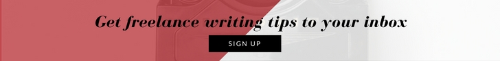Call to action - freelance writing tips to your inbox