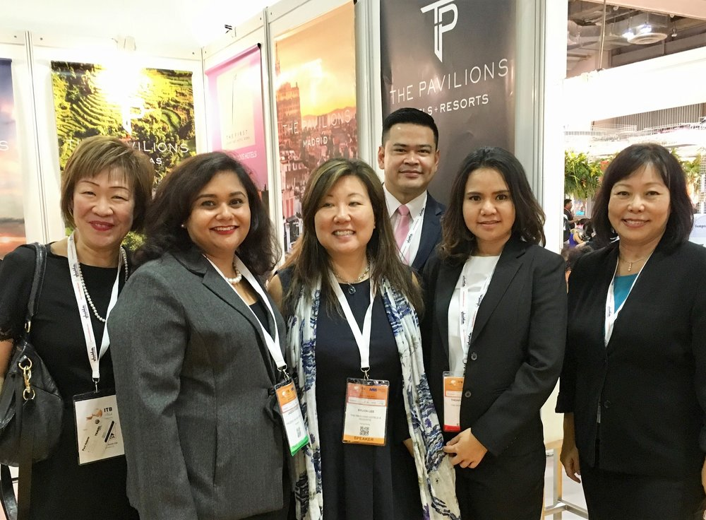 From left to right: Ms Aileene Thangaveloo (Director - Marketing, FLA), Ms Jagdish Sandhu (CEO, FLA), Ms Sylvia Lee (VP Marketing - HK, The Pavilions), Mr Poy (Director of Sales Asia - BKK, The Pavilions), Ms Aon (Sales Manager - BKK, The Pavilions), Ms Serene Law (VP, FLA).