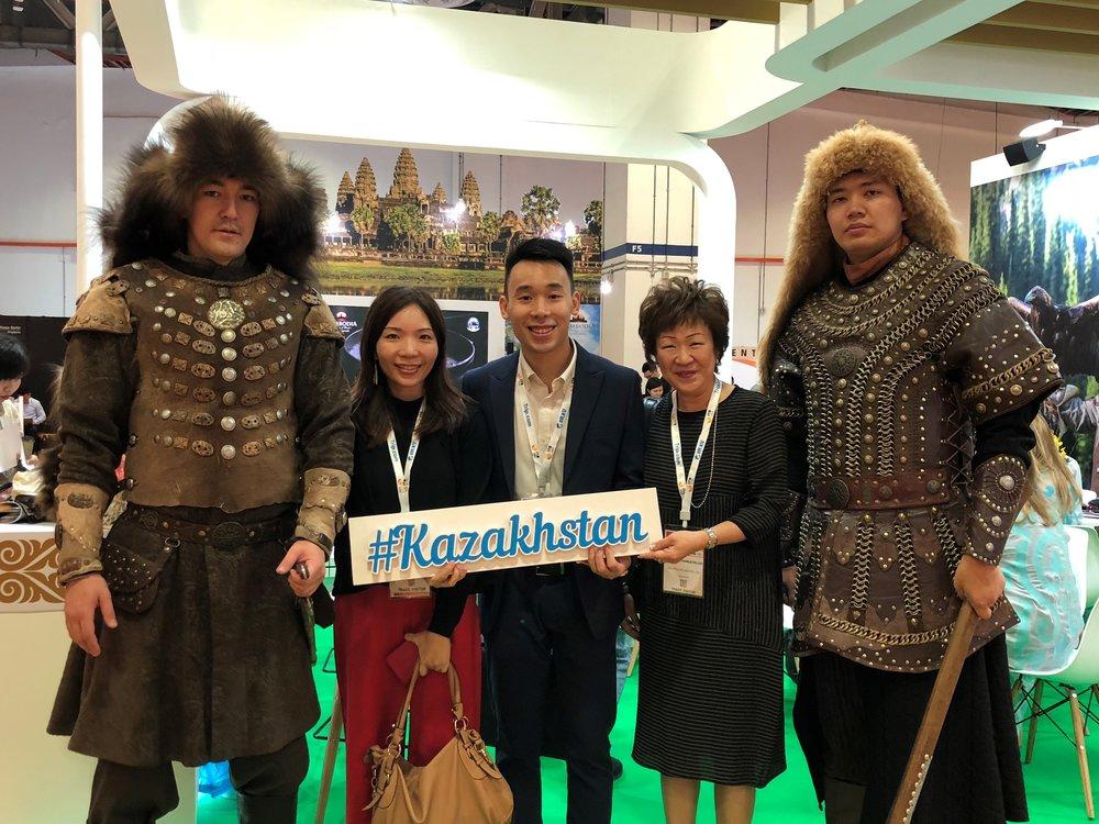 From left to right: Ms Jasmine Teow (FLA), Mr Pow Zhi Hoe (FLA), Ms Aileene Thangaveloo (FLA) at #Kazakhstan.