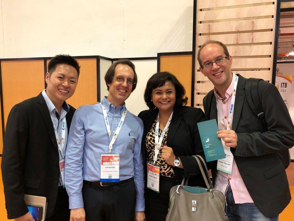 From left to right: Mr Michael Chin (Ultro.io), Mr Stefan Wolf (RoomIt), Ms Jagdish Sandhu (FLA), Mr Fabian Bartnick (LodgIQ).