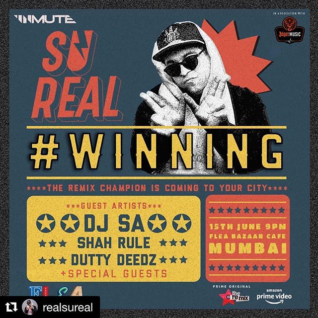 Suuuper stoked to be opening for the @remixamazon champion @realsureal next week!! 👑🔥🔥🔥 Droppin dat #duttybass alongside @officialdjsa and @shahrulemusic! Come by @fleabazaarcafe for a dose of deedz! 🎹  #Repost @realsureal with @get_repost ・・・ #mumbai! You're always #Winning 🏆 save the date for next Friday June 15 as we celebrate the win on @remixamazon 🤾‍♂️🤸‍♂️🕺🏽 which I shot over 3 grueling month and one weather emergency in your backyard! The venue is the new @fleabazaarcafe which looks AMAZING, you have to check it out and I will be joined on stage by my buddies @officialdjsa @shahrulemusic @duttydeedz 👊🏾 and of course a super *special* guest appearance by my #Remix teammate the spectacularly talented @rashmeetkaurofficial 🧚‍♀️🐱💃🏻 it's gonna be one hell of a party with a few surprises in store! Run tell a friend ❤️🎉💥 #PlayTheRemix #remixamazon #champion #rashmeet #rashmeetkaur #sureal #djsureal #fleabazaar #desibass #nucleya #amittrivedi #sunidhichauhan brought to you by @jagermeisterindia @unmutein #jagermusic
