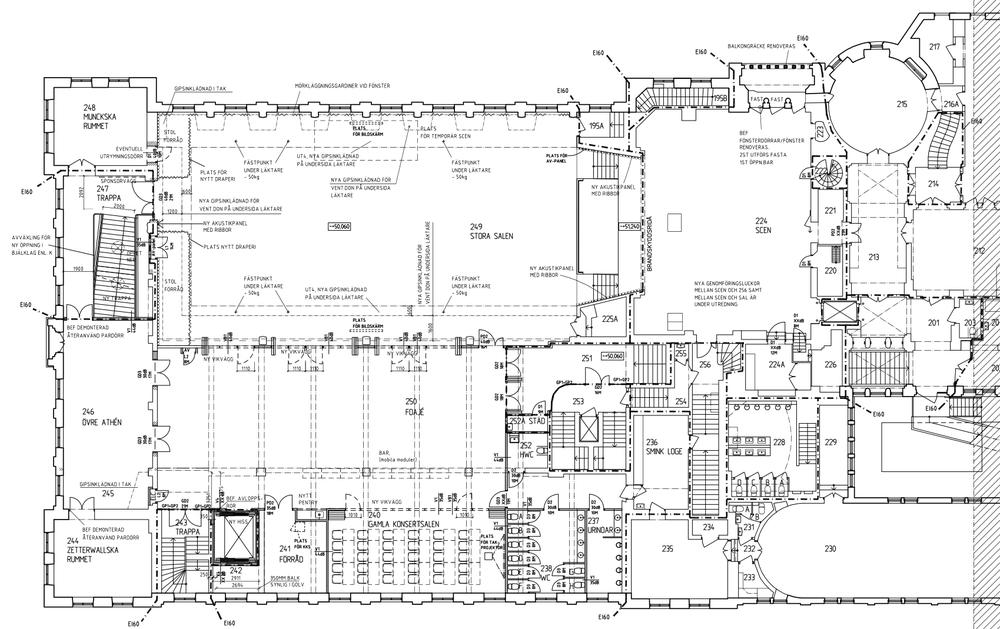 Plan 2 efter ombyggnationen. Fler ritningar finns under fliken  Detaljerat .