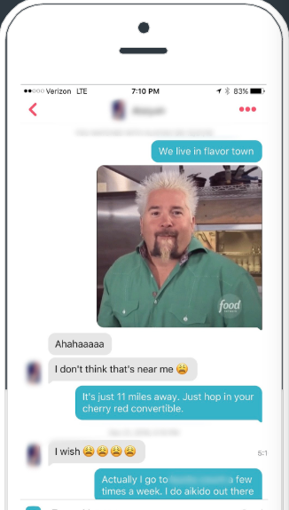 Guy Fieri Gif in a Tinder screenshot| Tips For Tinder | Zirby
