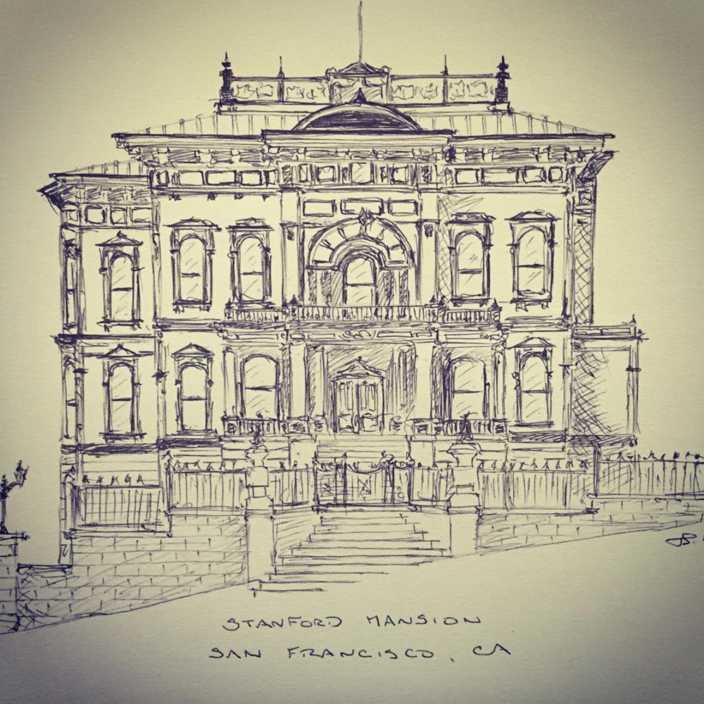The sketch which started it all. Stanford Mansion, CA. (credit: @jessespencersmith)