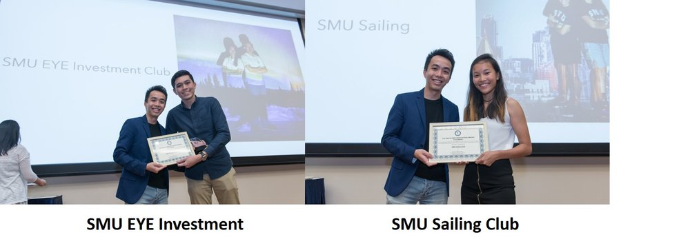 Congratulations to SMU EYE Investment Club & SMU Sailing Club On this very special day 13 March 2017, the 7th Executive Committee of the SMU Alumni Association (SMUAA) would like to congratulate SMU Sailing Club and SMU EYE Investment Club on being the proud recipients of the SMUAA CCA Award which was presented at the Univeristy Student Life Award Ceremony. Each club will be receiving a monetary incentive of SGD1,000 from SMUAA in recognition of their efforts to actively engage SMU Alumni in their club initiatives. The SMUAA-CCA award serves to encourage exemplary enthusiasm to involve the SMU Alumni community in CCA activities to forge closer bonding between past and present students.