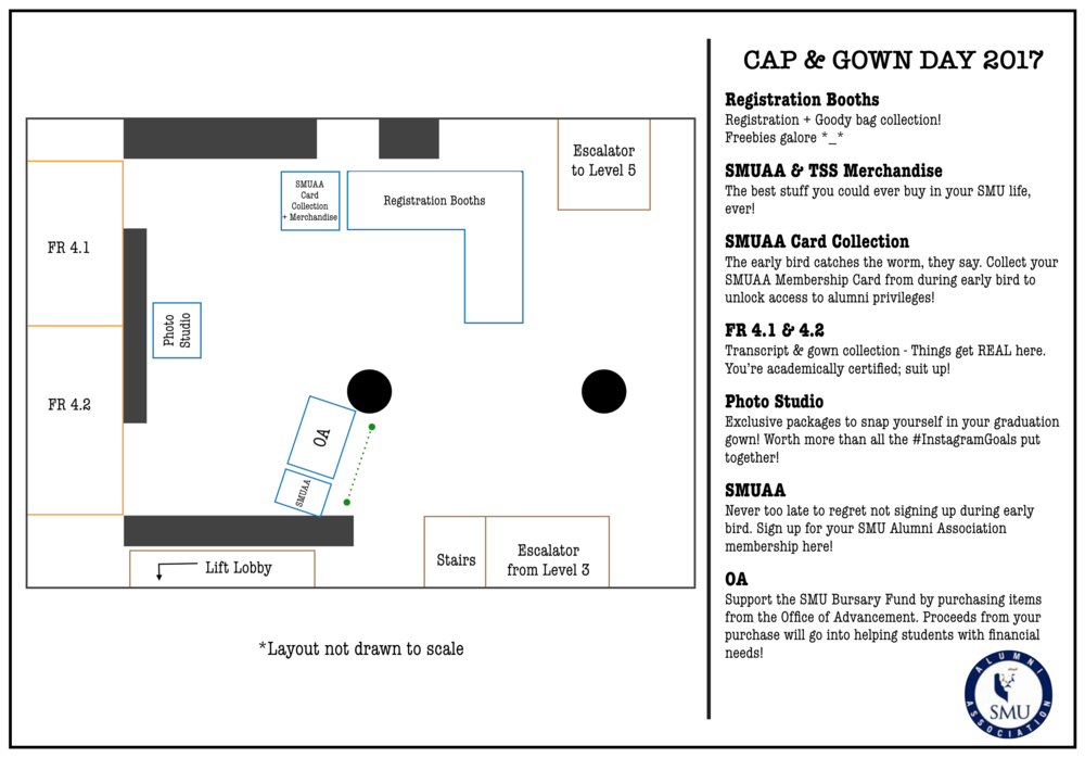 Layout of Cap & Gown Day 2017