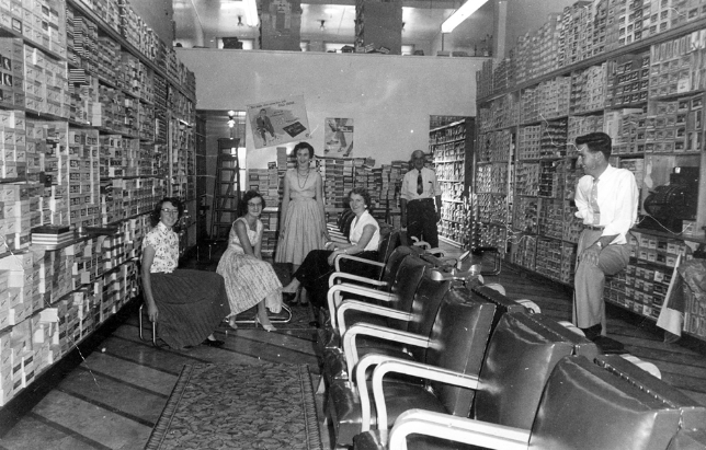 Interior of Mather's Shoes, Brisbane Street, Ipswich. Image credit -  The Fashion Archives