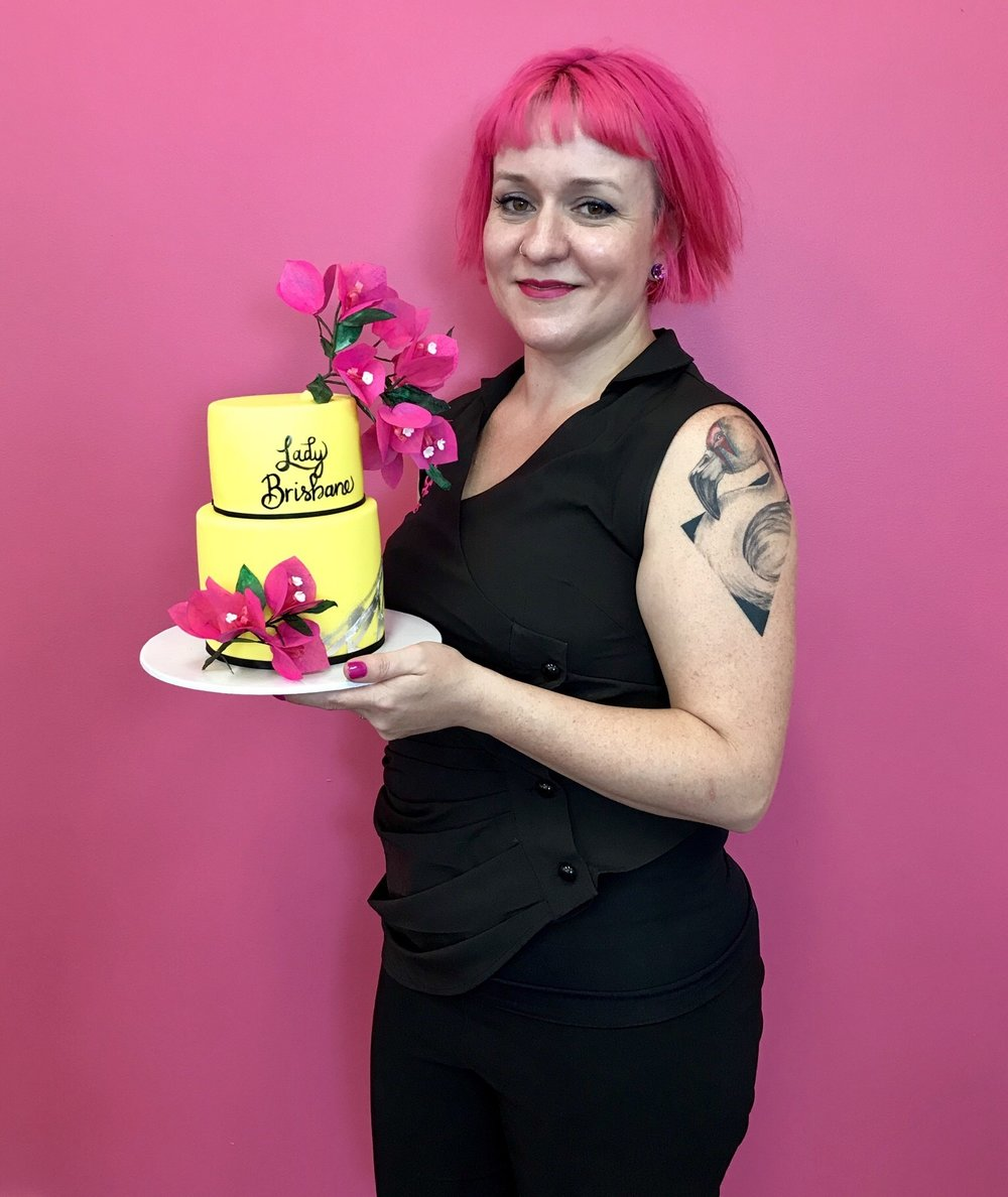 Zoe Byres with the Lady Brisbane cake.