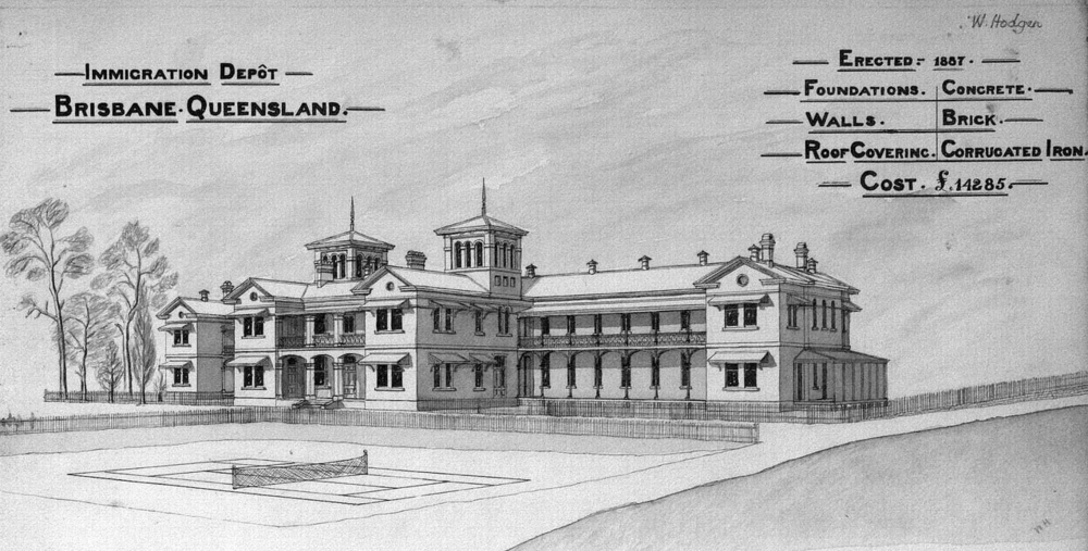 Architectural plans and perspective drawing of the Immigration Depot, Brisbane, 1888