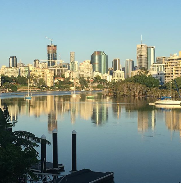 The view from Marisa's home, over the Brisbane River.