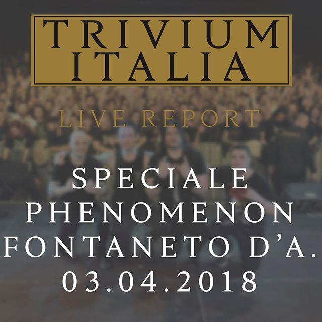 È online, su triviumitalia.it, il nostro speciale sul concerto di Fontaneto d'Agogna. Link in Bio. #trivium #triviumitalia