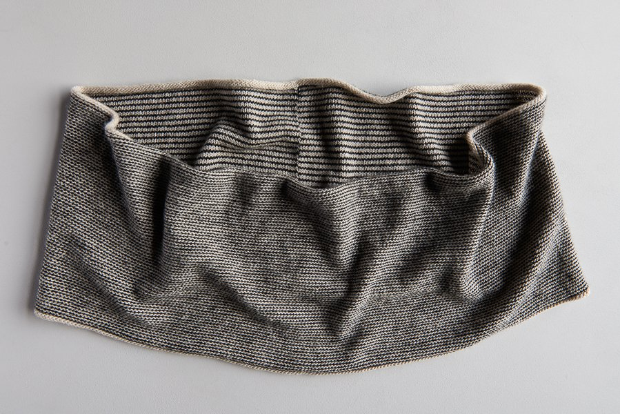 © Purl Soho. Newsprint Cowl by Michele Wang features a three round stripe pattern that would be great in helical stripes and would eliminate the start of round jog you can see here.