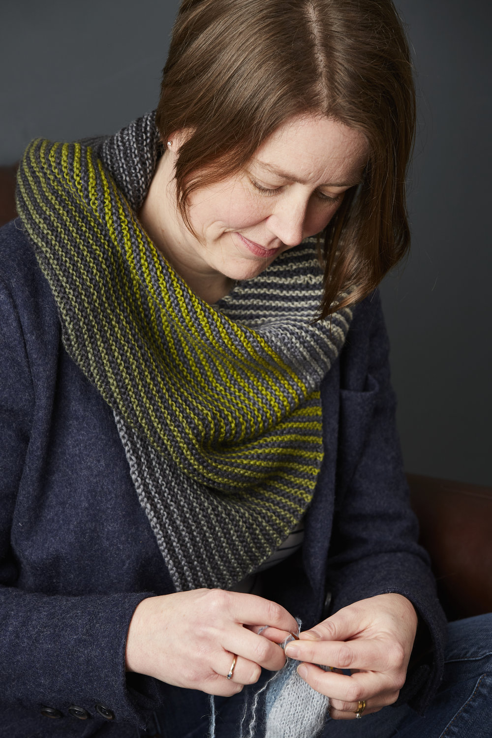 Only the garter stitch stripes give a clue as to the cowl's structure. Image © Jesse Wild.