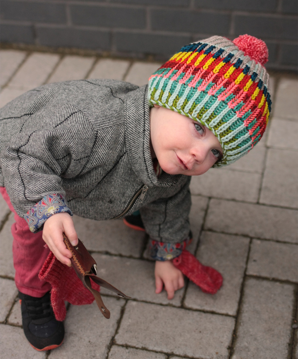 Emily made Max a brioche hat (Syncopation Adoration Hat by Stephen West) last year and he loves it! Image © Tin Can Knits.
