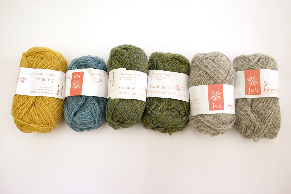 This combination is similar to one of the kits we set up in our online shop (click on the photo and it will take you there). In this version the FC15 blue has been switched to FC34 mix (a heathered turquoise), which is one of my all-time favourite J&S shades. So from left to right the J&S Jumper Weight shades are, 28, FC34 mix, 29 mix and 203.