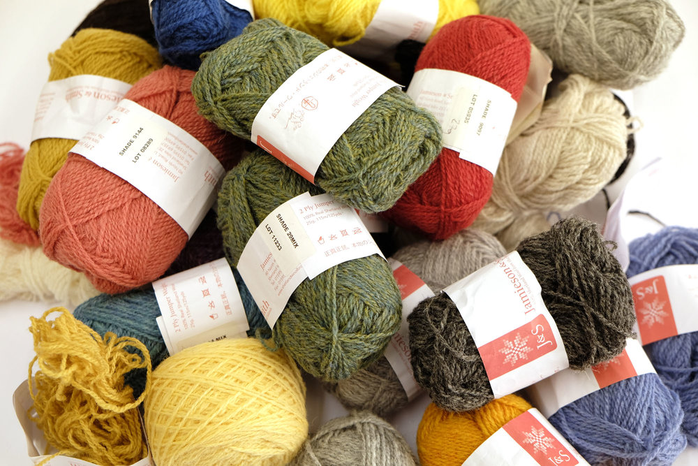 A selection from my bag of left over J&S 2ply Jumper Weight.