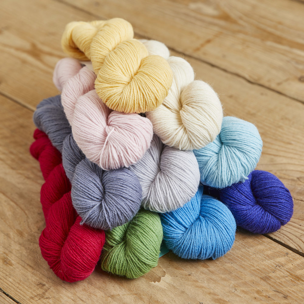 Here are all ten colours of Something to Knit With 4ply, ranging from spring gardens to summer ice-creams! All perfect for shawls, light garments, or whatever you fancy knitting next! Image © Jesse Wild.