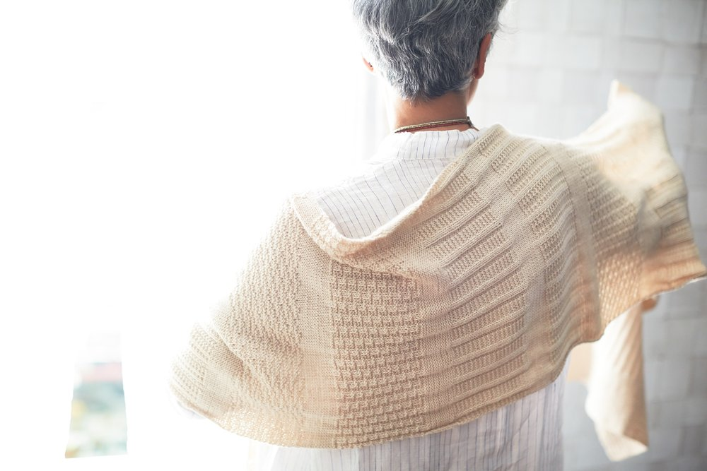 Corrugated shawl by Cecelia Campochiaro