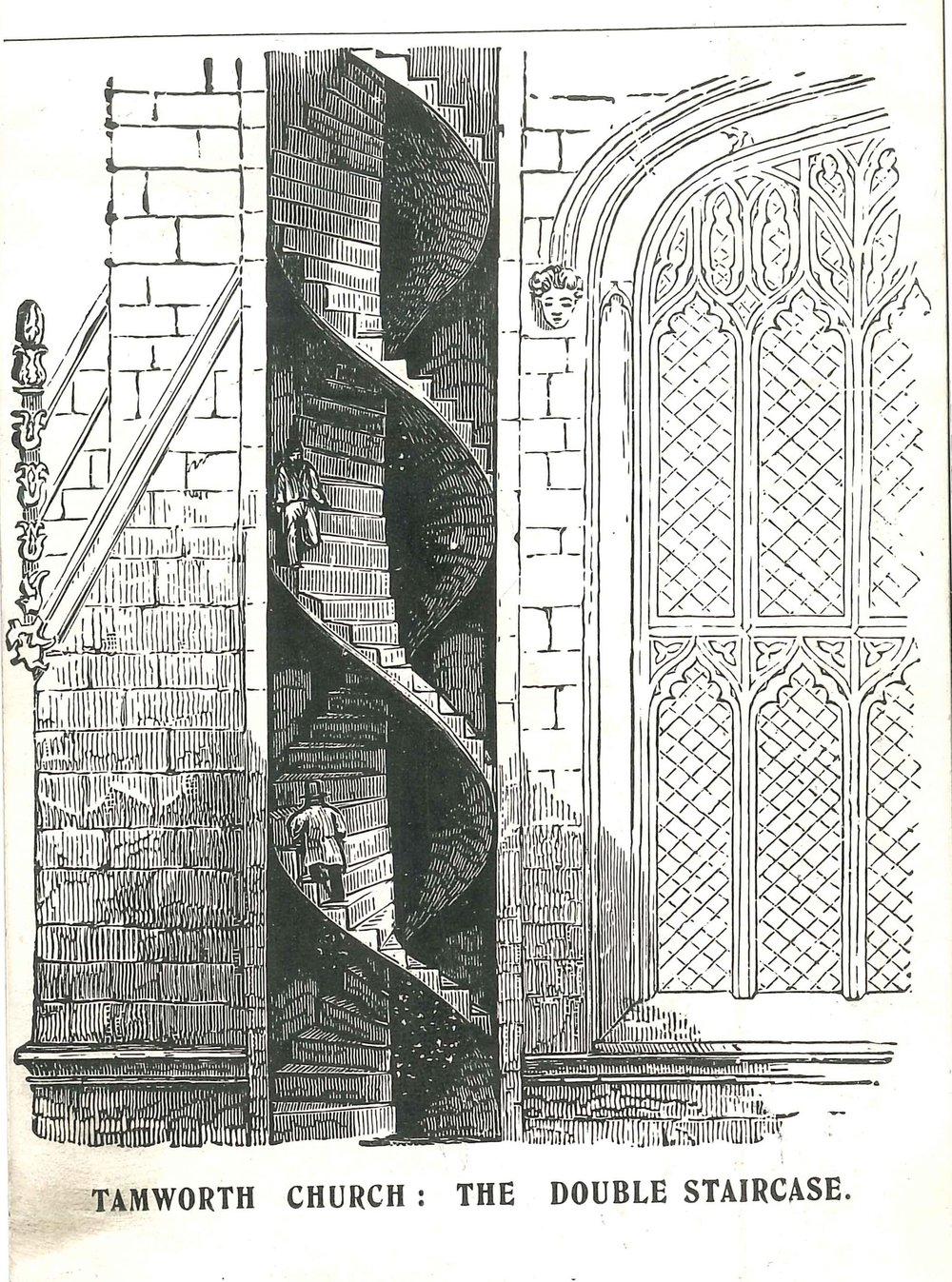 Image from a 1900 postcard of the double helix staircase at St Editha's Church, Tamworth. Image ©  Tamworth Heritage Trust