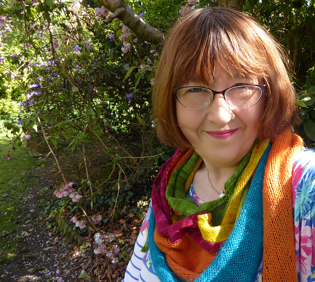 Crochet-Julie's Brambling shawl is wonderfully colourful! You can see her project notes and beautiful yarn selection on Ravelry here:  Crochet-Julie