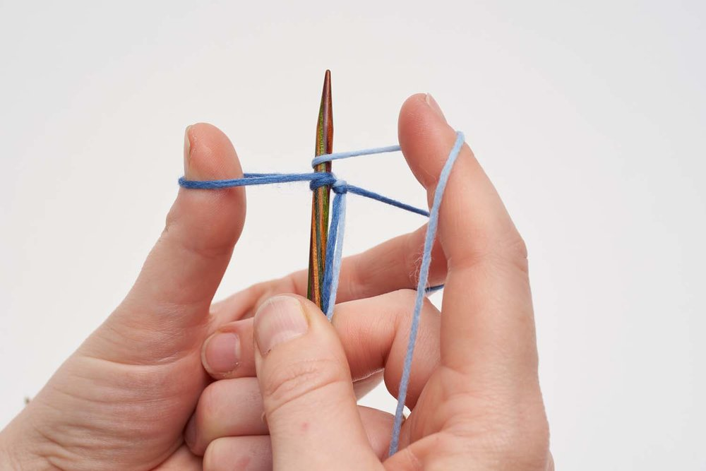 5. Use your right hand to wrap the contrast yarn around the needle.