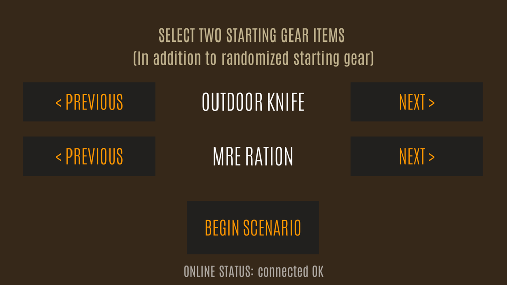 Version 188 introduces starting gear options to choose from (in addition to random starting gear).
