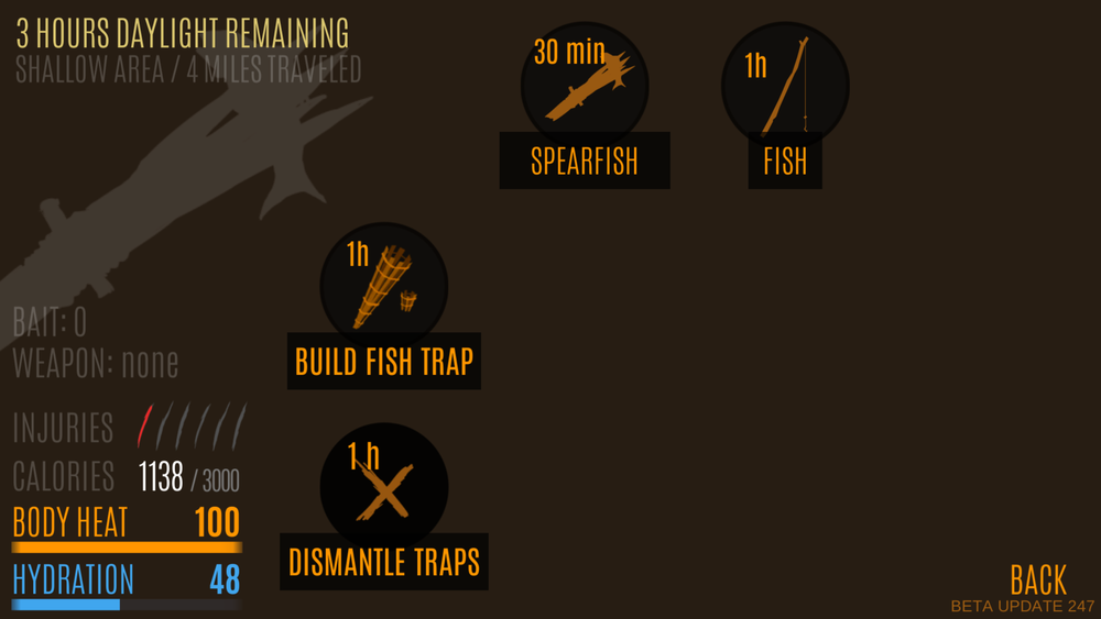 Hunting screen now allows for multiple ways to get food. There's dozen or so different ways to hunt or build traps.
