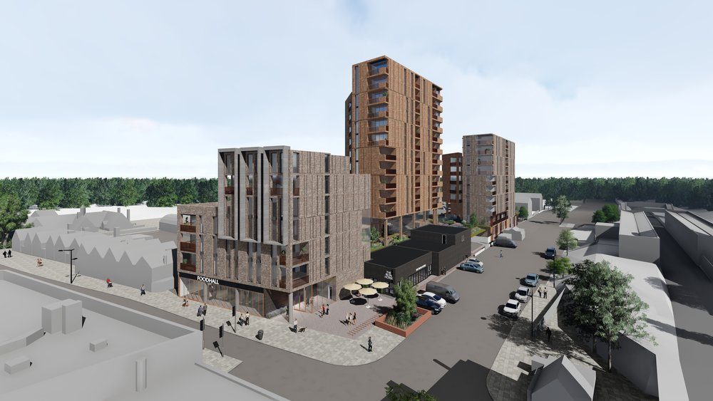 Aerial view from the SW corner.  The To-Do pre-application submission presented to the local authority for their consideration. A 130 PRS residential led scheme over a major new foodstore. The scheme includes PRS and affordable residential units and associated parking and services at basement level and landscaped gardens at podium and roof levels. The scheme has received significant GLA support.