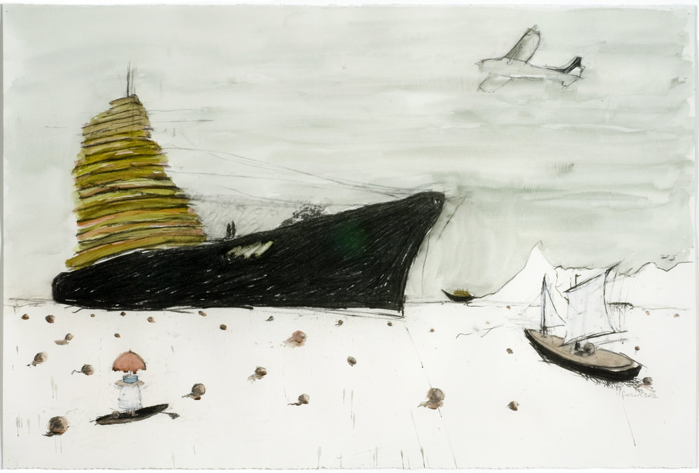 Eye can draw lawnboats better than Manet or Wiley can charcoal, watercolor on paper 30 x 44 inches 76 x 112 cm 2012 (State of Hawaii Collection (SFCA))
