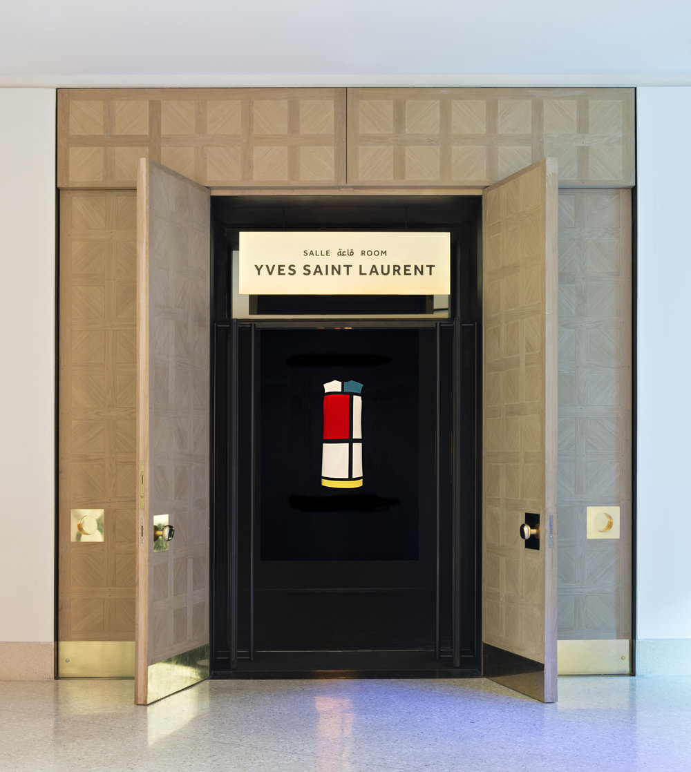 Entrance to la salle YSL, featuring the Mondrian dress Photo © Fondation Jardin Majorelle / Photo Nicolas Mathéus