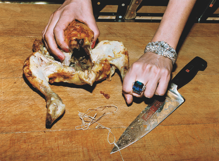 Roast chicken and Bulgari jewels, French Vogue, Paris, 1994