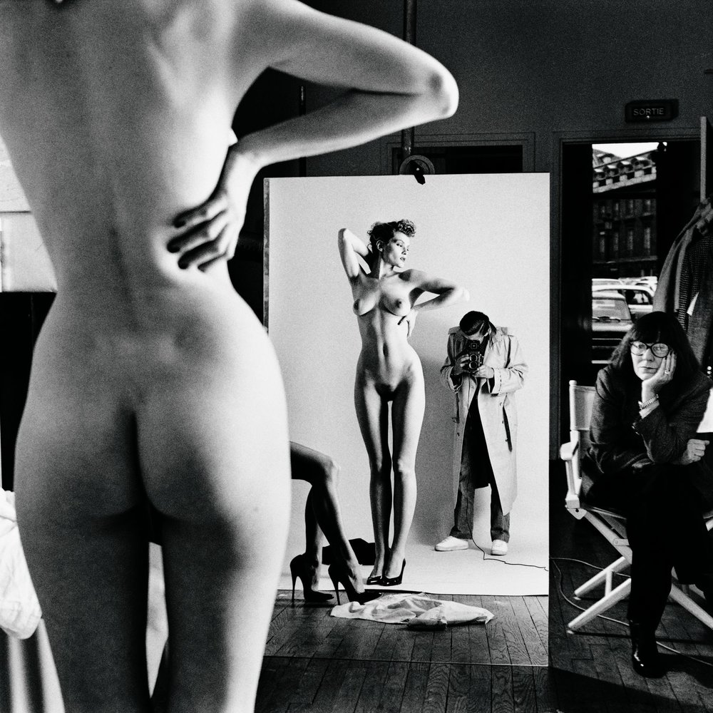 Self-portrait with wife and models, Vogue Studios, Paris, 1981
