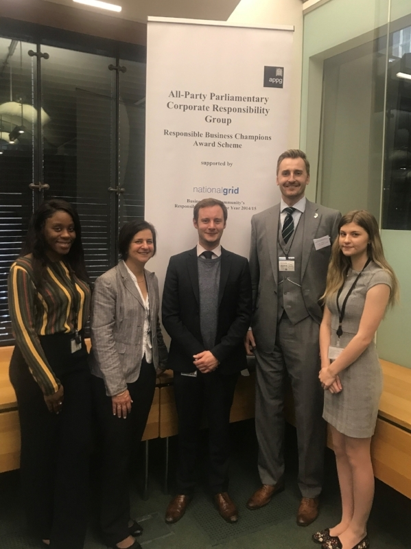 L-R: Tasa Ikie (Parliamentary Apprentice), Hilary Edwards (Constituency Office Manager), Tommy Gilchrist (Parliamentary Assistant), Luke Evans (BRDC Assistant Club Secretary), Emily Hall (Apprentice Caseworker)