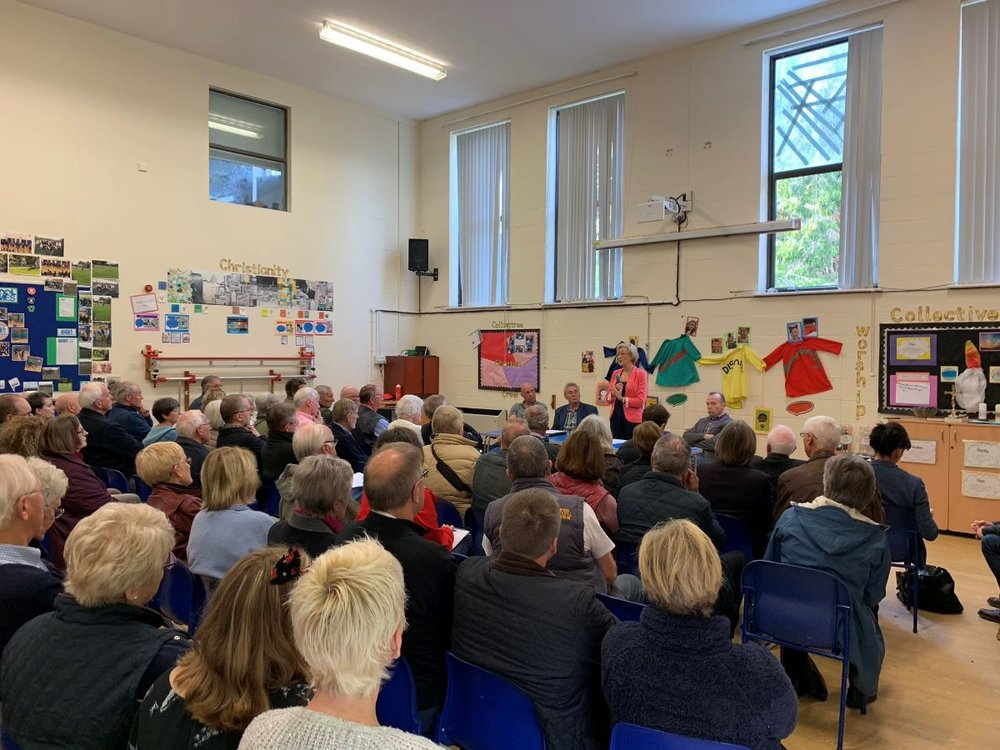 With Chris Heaton-Harris MP, Mark Redding and Rod Sellers at the SRFI public meeting I organised in Collingtree in October. Read more here .