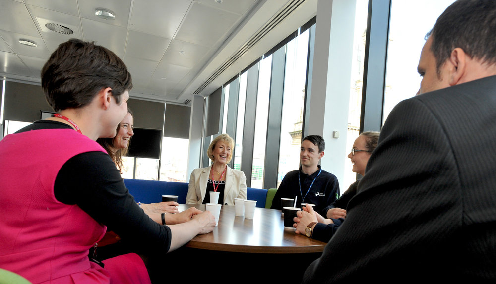 20150921 Leadsom, Alison Thewliss MP and Caroline Monaghan MP with new SSE apprentices Morna Grant, Craig Martin & Megan Dougan [03].jpg