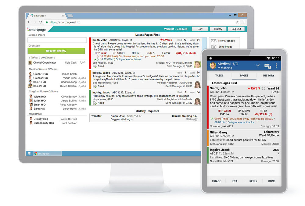 Smartpage is a modern clinical paging solution that provides comprehensive, safe and instant messaging with vital signs, early warning scores, read-receipts and instant two-way replies. Cloud based and easy to install it provides real-time updates for co-ordinators and team members. Easy Hospital at Night, with full oversight into hospital workload and task progress via clinical coordinators will help prevent adverse patient events.