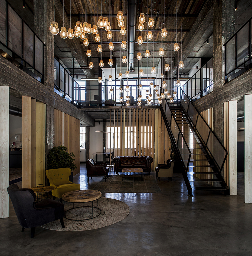 PERSONETICS   Situated inside a newly renovated building, proposed by the studio as a high-tech business hub, the two stories open office is enhanced by the use of an impressive LED light fixture ...