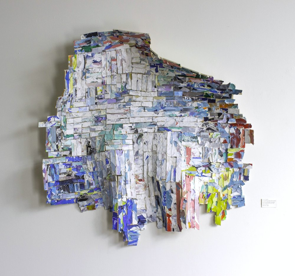 "Everything Stays the Same and Everything Changes , Approximately 54""x54"", Trash, Scrap Paper and Wood, Plastic, 2016"