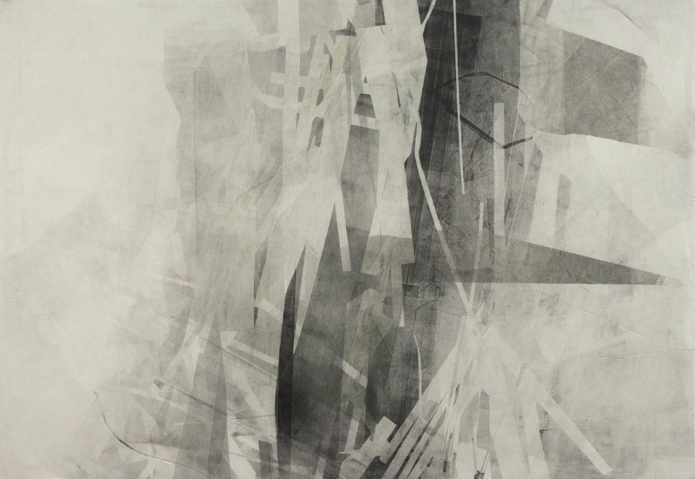 "Dreaming Skyscrapers, 26""x37"", Monotype, 2014, sold"